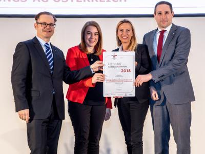 Familienministerin Juliane Bogner-Strauß überreicht das Gütezeichen berufundfamilie an die NÜRNBERGER Versicherung AG Österreich / GARANTA Versicherungs-AG Österreich