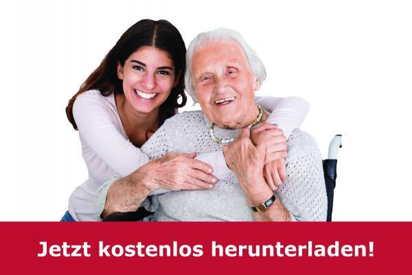 Alte Dame mit Pflegerin und Hinweis auf Download für Pflegeleitfaden